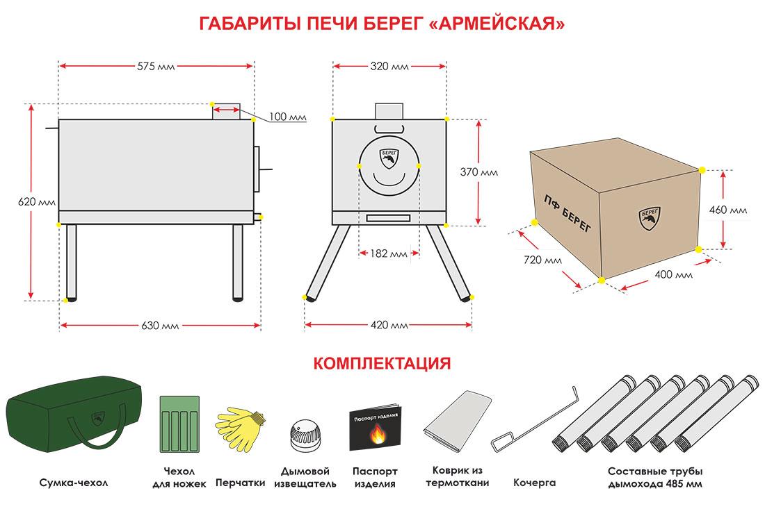 Размеры печи Берег Армейская