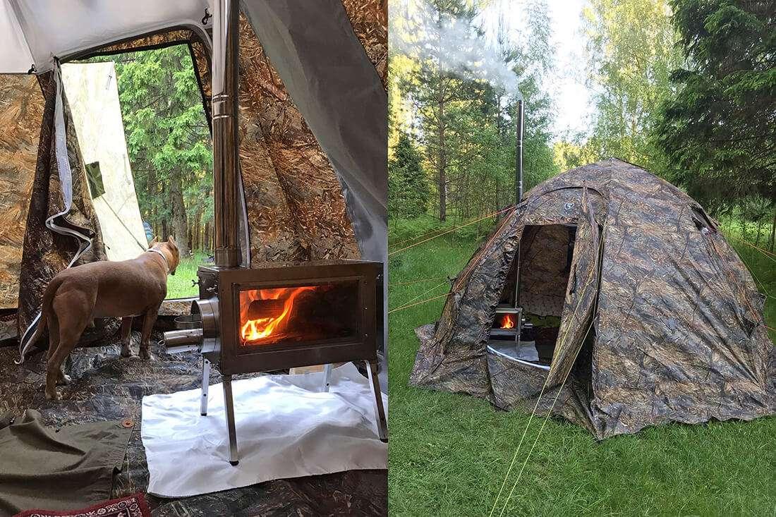 Печь Камин Средняя в палатке
