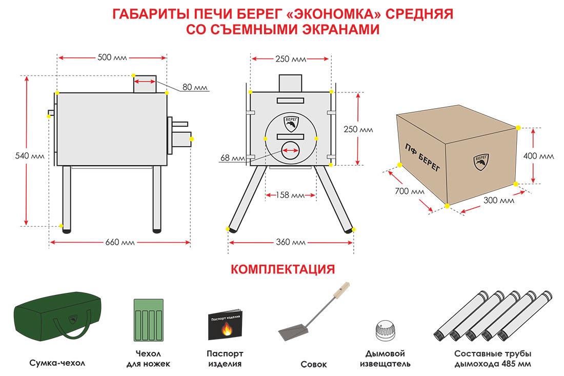 Размеры печи Экономка Средняя со съемными экранами